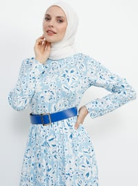 Blue - Multi - Crew neck - Fully Lined - Viscose - Dress