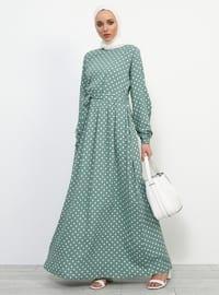 Green - Mint - Polka Dot - Polo neck - Fully Lined - Viscose - Dress