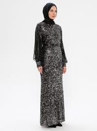 Gümüş - Siyah - Yuvarlak yakalı - Astarlı kumaş - Elbise