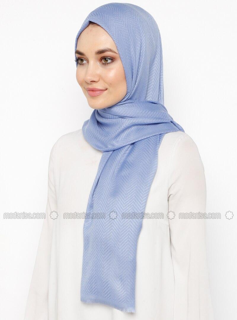 Blue - Plain - Cotton - Shawl