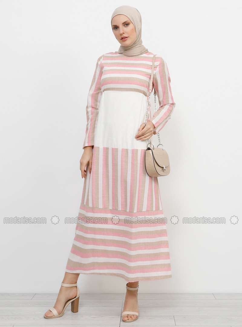 Pink - Beige - Stripe - Crew neck - Fully Lined - Cotton - Dress