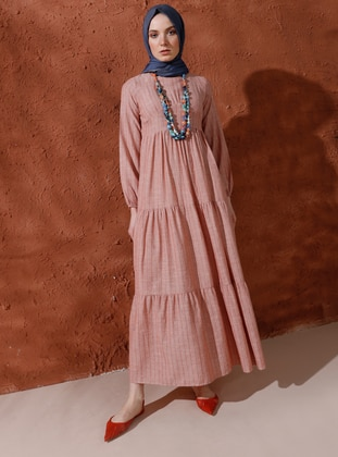 Orange - Terra Cotta - Crew neck - Unlined - Viscose - Dress