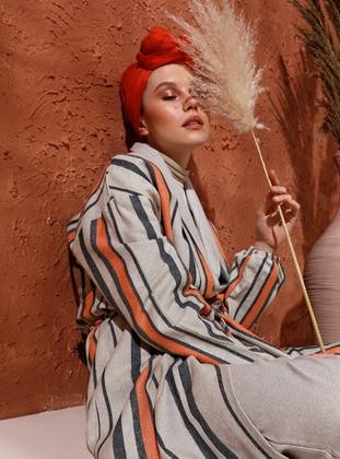 Blue - Orange - Stripe - Unlined - Shawl Collar - Linen - Topcoat