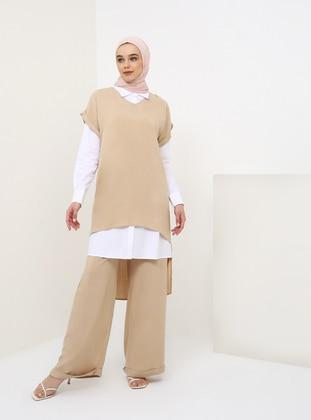 White - Ecru - Beige - Unlined - Viscose - Suit