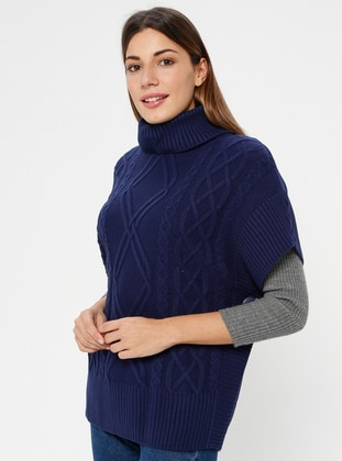 Navy Blue - Polo neck - Unlined - Acrylic -  - Poncho