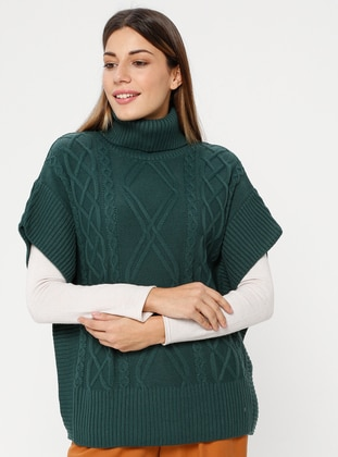 Green - Polo neck - Unlined - Acrylic -  - Poncho