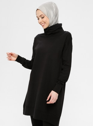 Black - Polo neck - Cotton - Tunic