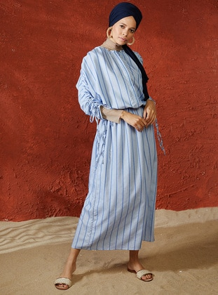 Blue - Stripe - Crew neck - Unlined - Viscose - Dress - A point