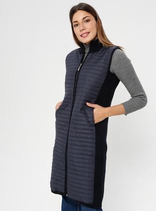 Navy Blue - Unlined - Polo neck - Acrylic -  - Vest
