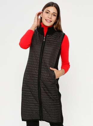 Black - Unlined - Polo neck - Acrylic -  - Vest
