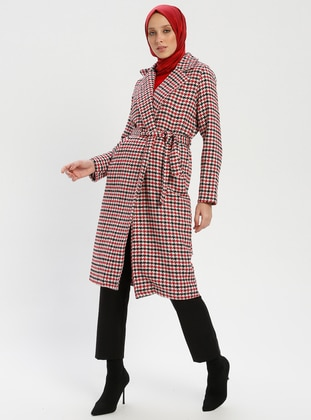 Red - Ecru - Houndstooth - Unlined - Shawl Collar - Coat - SELLY