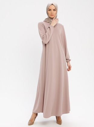 Beige - Crew neck - Unlined - Dresses - ECESUN