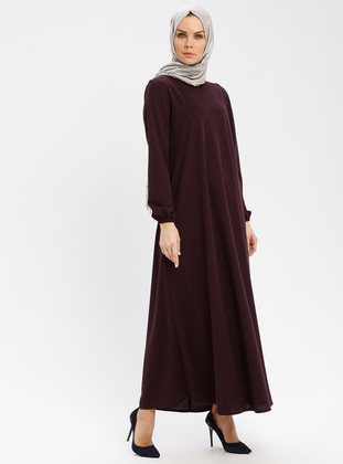 Plum - Crew neck - Unlined - Dresses - ECESUN