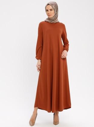 Tan - Crew neck - Unlined - Dresses - ECESUN
