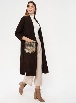 Brown - Shawl Collar - Acrylic -  - Cardigan
