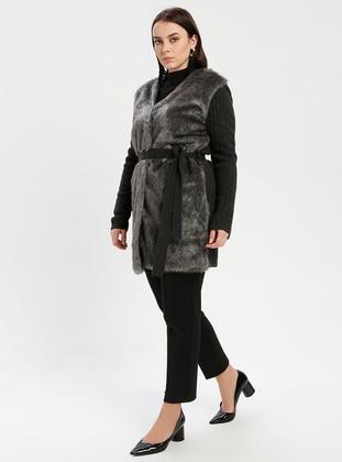 Anthracite - Unlined - V neck Collar - Wool Blend -  - Jacket