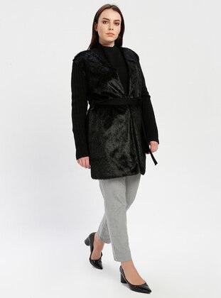 Black - Anthracite - Unlined - V neck Collar - Wool Blend -  - Jacket