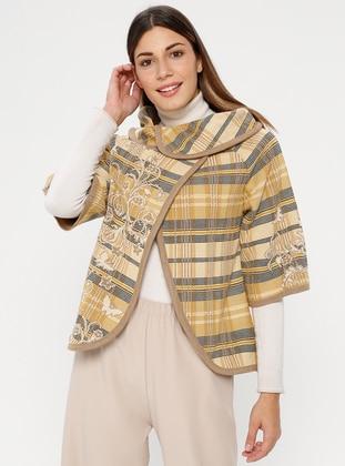 Camel - Multi - Unlined - Round Collar - Acrylic -  - Jacket