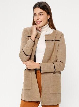 Brown - Camel - Unlined - Crew neck - Acrylic -  - Jacket