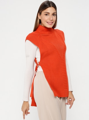 Coral - Polo neck - Unlined - Acrylic -  - Poncho