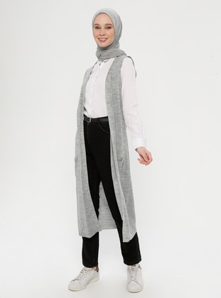 Gray - Unlined -  - Vest - İLMEK TRİKO