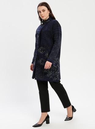 Navy Blue - Multi - Unlined - Polo neck - Wool Blend -  - Jacket