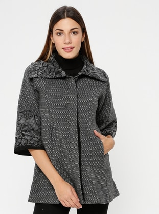 Black - Gray - Multi - Unlined - Point Collar -  - Jacket
