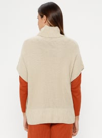 Beige - Polo neck - Unlined - Acrylic -  - Poncho
