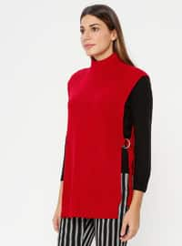 Red - Polo neck - Unlined - Acrylic -  - Poncho