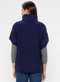 Navy Blue - Polo neck - Unlined - Acrylic -  - Poncho