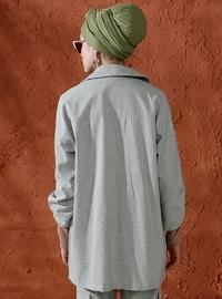 Green - Unlined - Shawl Collar - Cotton - Jacket