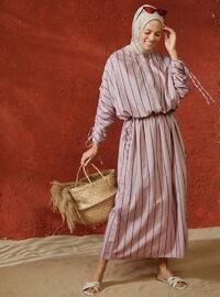 Bordo - Çizgili - Yuvarlak yakalı - Astarsız kumaş - Viskon - Elbise - Sivri