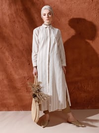 Yellow - Beige - Stripe - Point Collar - Cotton - Tunic
