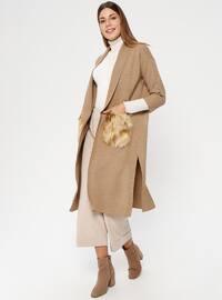 Camel - Shawl Collar - Acrylic -  - Cardigan