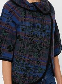 Black - Multi - Unlined - Round Collar - Acrylic -  - Jacket