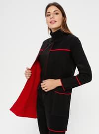 Red - Black - Unlined - Crew neck - Acrylic -  - Jacket