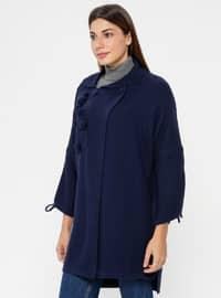 Navy Blue - Point Collar - Acrylic -  - Cardigan