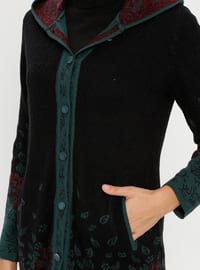 Green - Black - Multi - Acrylic -  - Cardigan