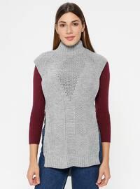 Gray - Polo neck - Unlined - Acrylic -  - Poncho