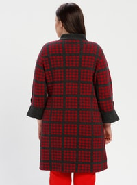 Red - Anthracite - Checkered - Unlined - Wool Blend - Jacket