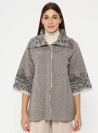 Gray - Beige - Multi - Unlined - Point Collar -  - Jacket