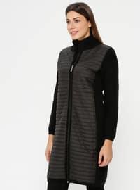 Black - Unlined - Polo neck - Acrylic -  - Jacket