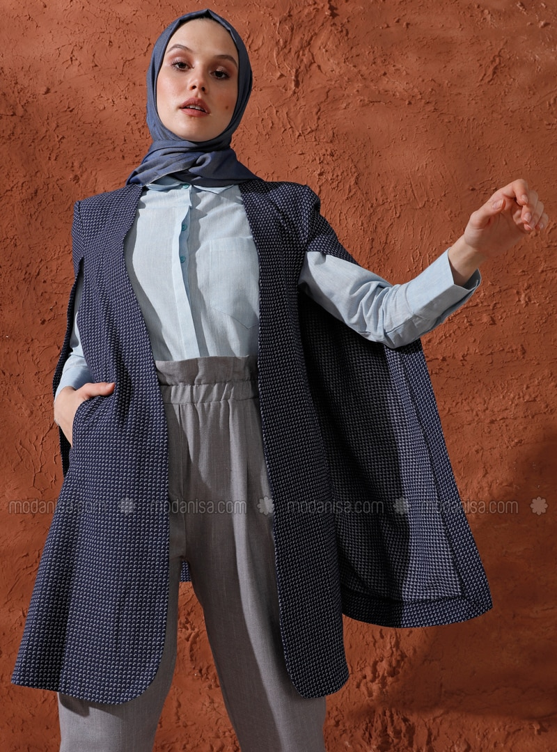 Navy Blue - Unlined - Cotton - Poncho