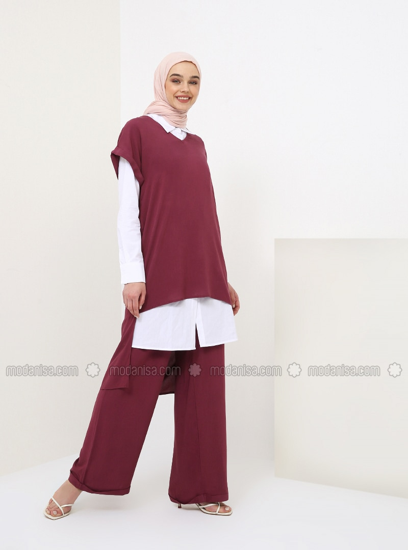 Plum - Unlined - Viscose - Suit