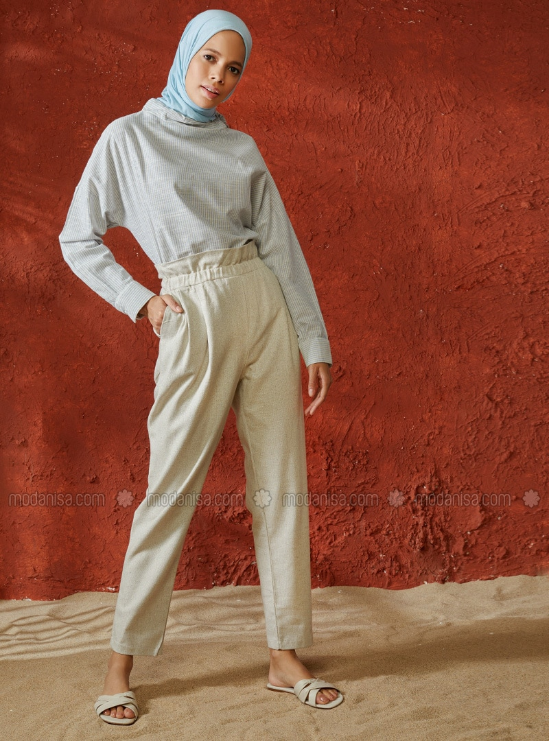 Beige - Cotton - Pants