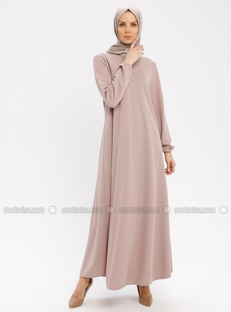 Beige - Crew neck - Unlined - Dresses