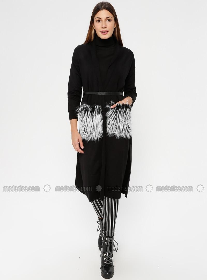 Black - Shawl Collar - Acrylic -  - Jacket