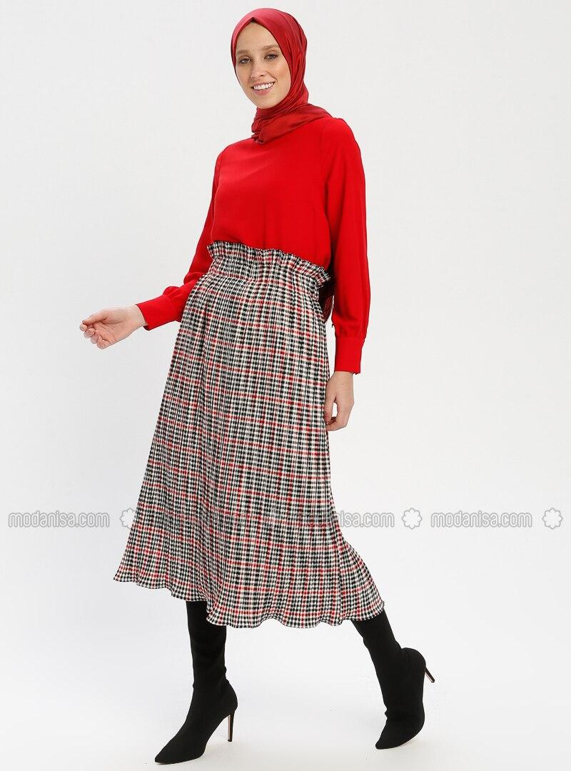 8ebadb831b Red - Plaid - Fully Lined - Skirt. Fotoğrafı büyütmek için tıklayın
