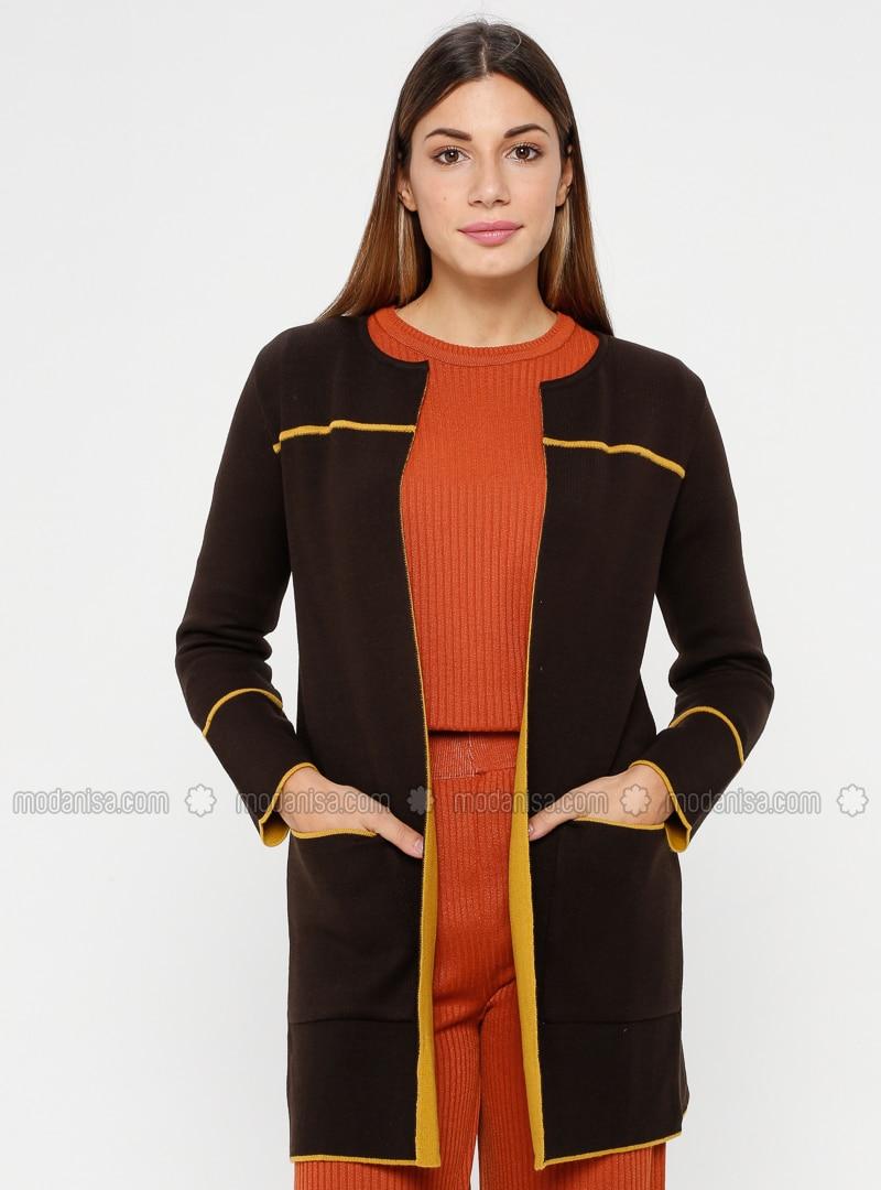 Brown - Mustard - Unlined - Crew neck - Acrylic -  - Jacket