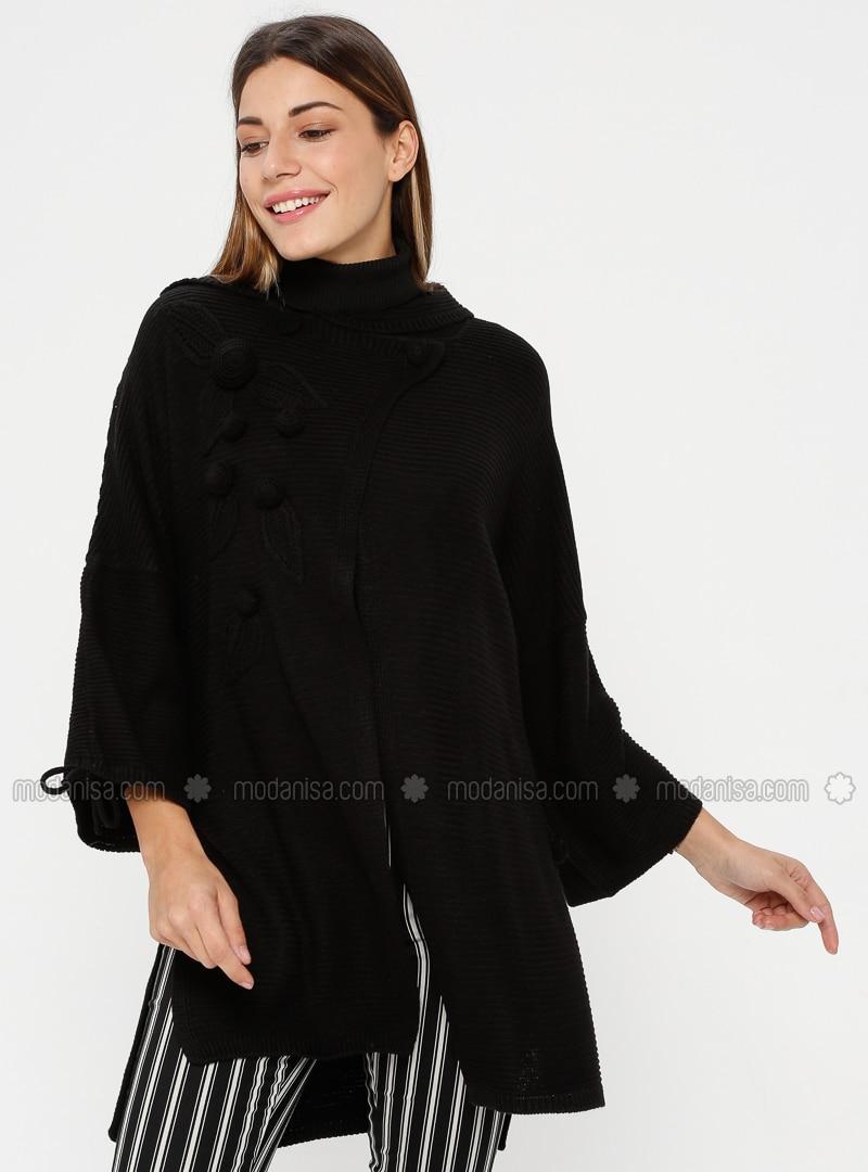 Black - Point Collar - Acrylic -  - Cardigan